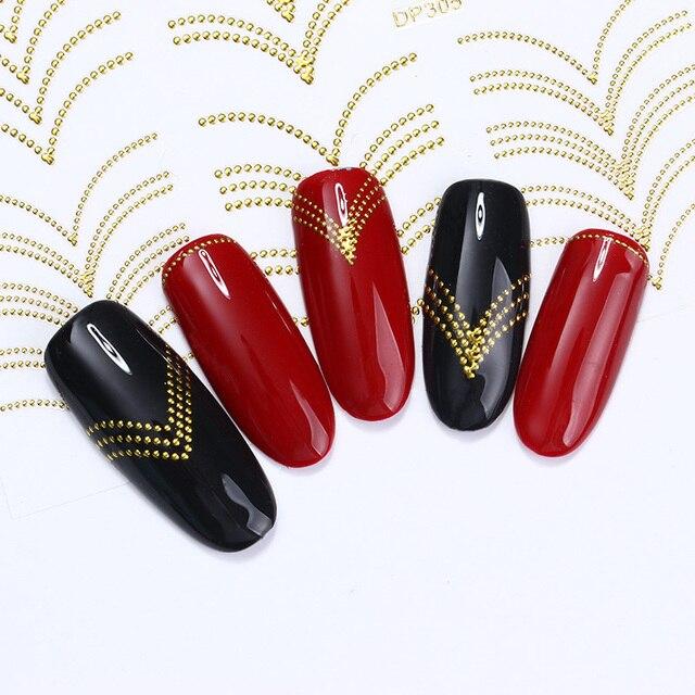 Goud Metalen 3d Nail Stickers Strepen Golf Lijn Diy Nail Art