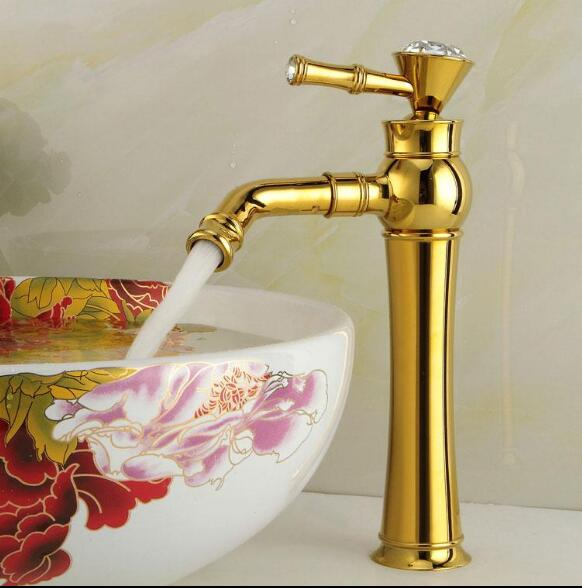 цены Free Shipping Modern Gold Faucet Gold Bathroom Faucets Gold Finish Basin Faucets Gold Tall High Bathroom Sink Faucet Water Tap