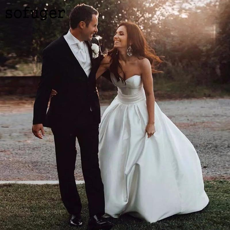 2019 Wedding Dresses A Line Sweetheart Satin Lace Up Back Wedding Bridal Gowns Robe de Marriage Vestido de novia in Wedding Dresses from Weddings Events