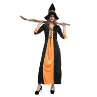 Fashion Adult Witch Long Dress and Hat Halloween Christmas Carnival Cosplay Costume