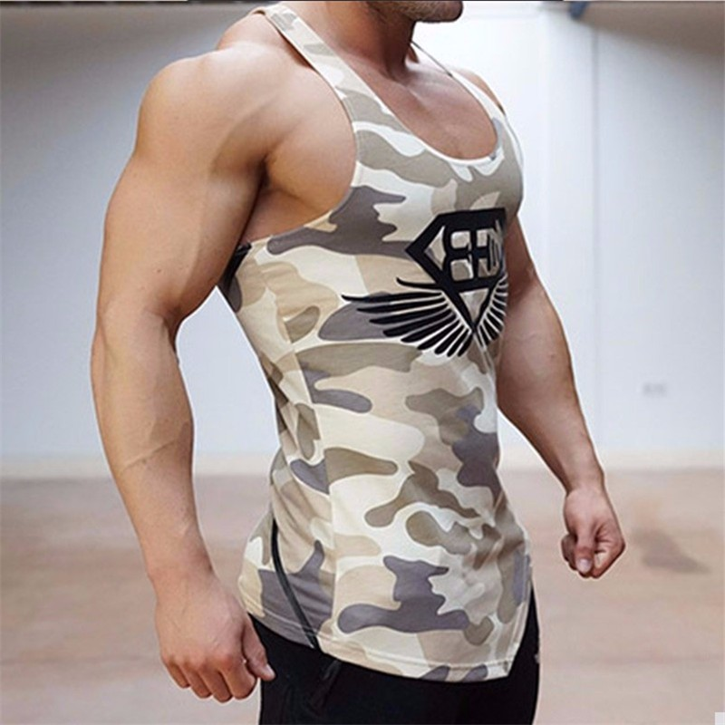 Body engineers men tank tops army camo camouflage mens for Singlet shirt for mens