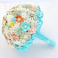 EMS ücretsiz kargo, Mavi düğün gelin buketleri, çiçek tarzı Lolita küçük taze buket, broş buket