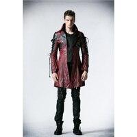 Панк рейв Готический искусственная кожа рок шипованных хлопковая куртка пальто Streampunk HoodieLot S 3XL Y349