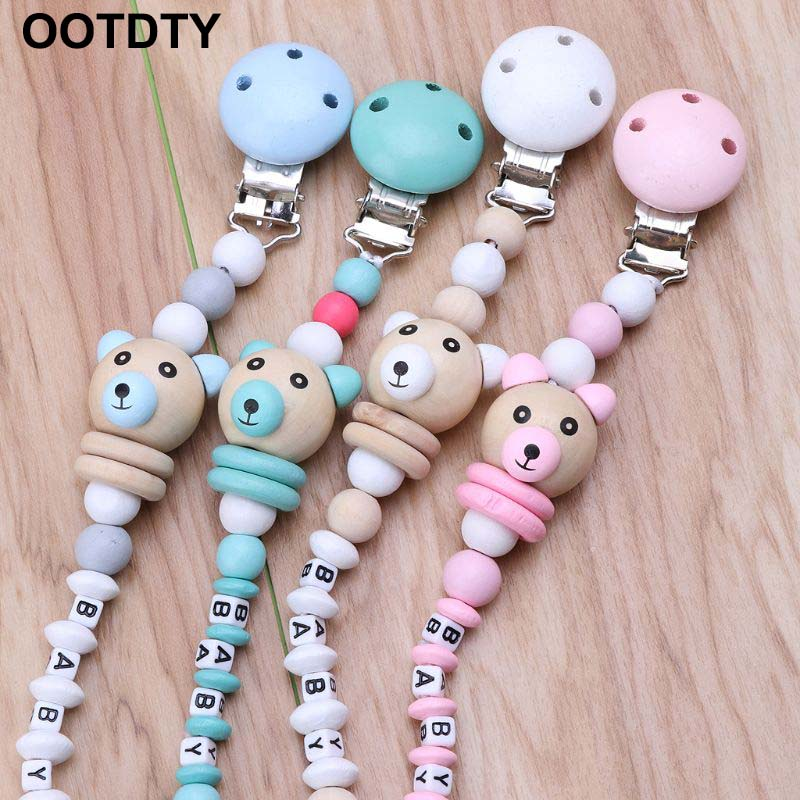 Baby Pacifier Clip Pacifier Chain Panda Shape Hand Made Cute Colourful Beads Dummy Clip Baby Soother Holder For Baby Kid