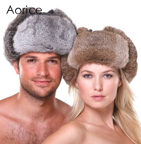 HR007 New Men's/Women's 100% Real Rabbit Fur Warm Hat/Russian Bombers Guard Cheek Hat cap