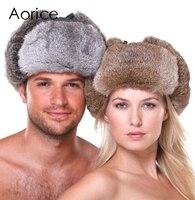 HR007 Yeni erkek/kadın 100% Gerçek Tavşan Kürk Sıcak Şapka/Rus Bombacıları Guard Yanak Şapka kap