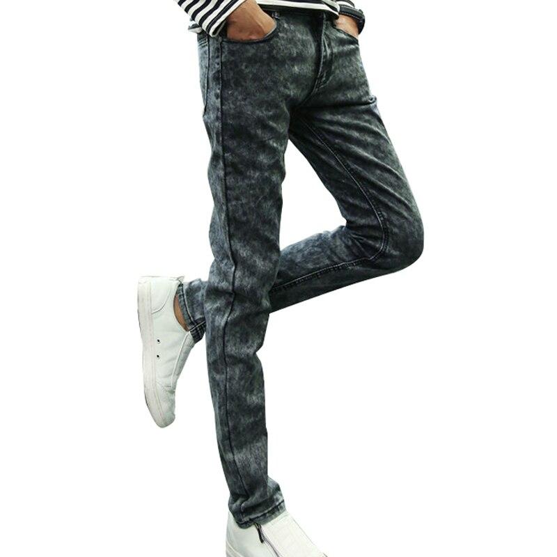 2017 Fashion Mens Biker Jeans Denim Pants Skinny Slim Ripped Jeans Men Casual Pencil Pant High Street Jeans Slim Dark Jeans
