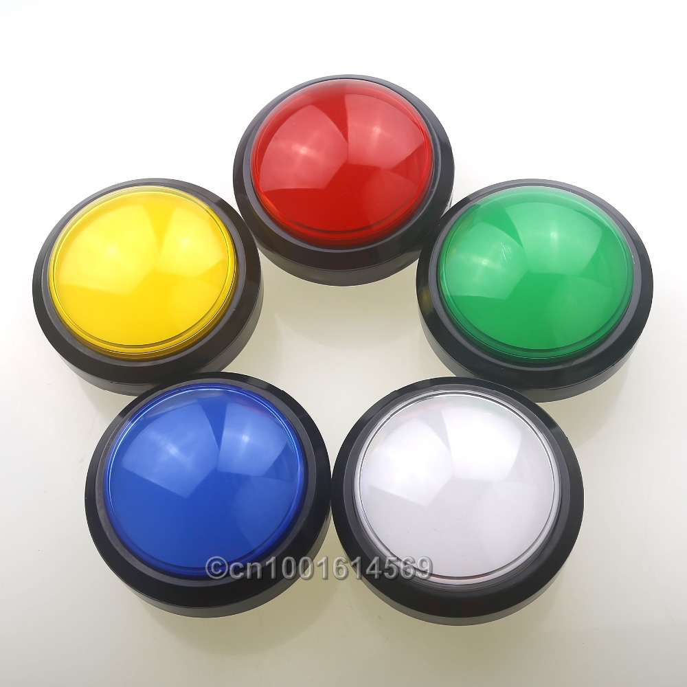 New 5 pcs/lot 100mm Diameter Convex illuminated Push Button For Arcade Game Pop'n Music Convertible & MAME Multicade Game DIY 5pcs for lg google nexus 5 lcd display touch screen digitizer assembly with frame d820 d821 replacement parts