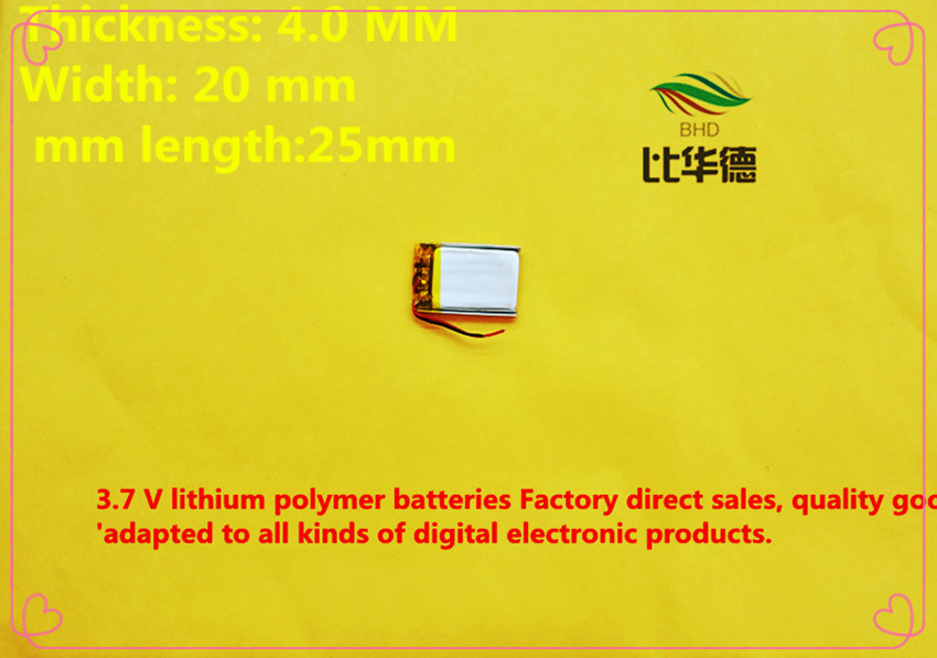 (free shipping)(2pieces/lot)Polymer lithium ion <font><b>battery</b></font> <font><b>150mAh</b></font> <font><b>3.7</b></font> <font><b>V</b></font>, 402025 CE FCC ROHS MSDS quality certification image