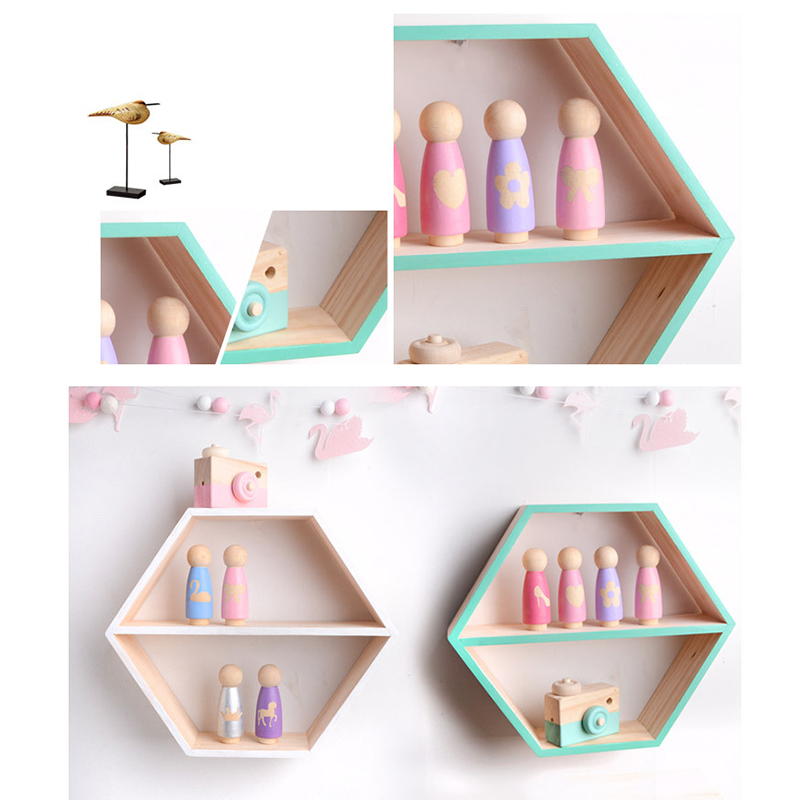 Nordic Style Wood Hexagon Wall Decoration Baby Room/Bedroom Organization Hanger Photography Props Shelves Storage Decor