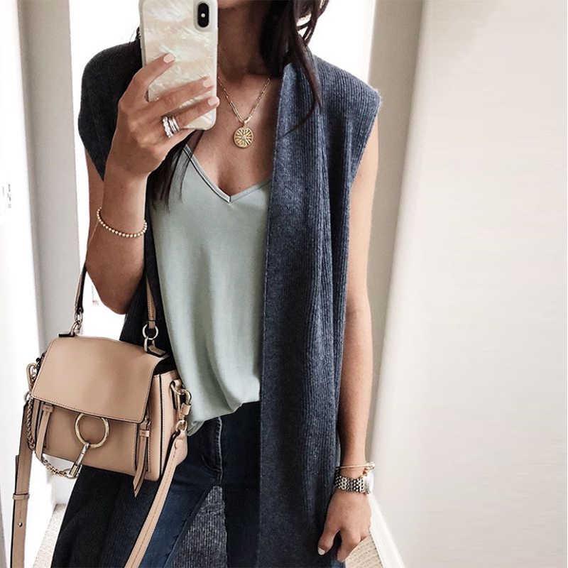 06113c54dd 2018 Autumn Winter Women Coat Sleeveless Jacket Office Lady Solid Vest  Knitted Cardigan Female Casual Waistcoat