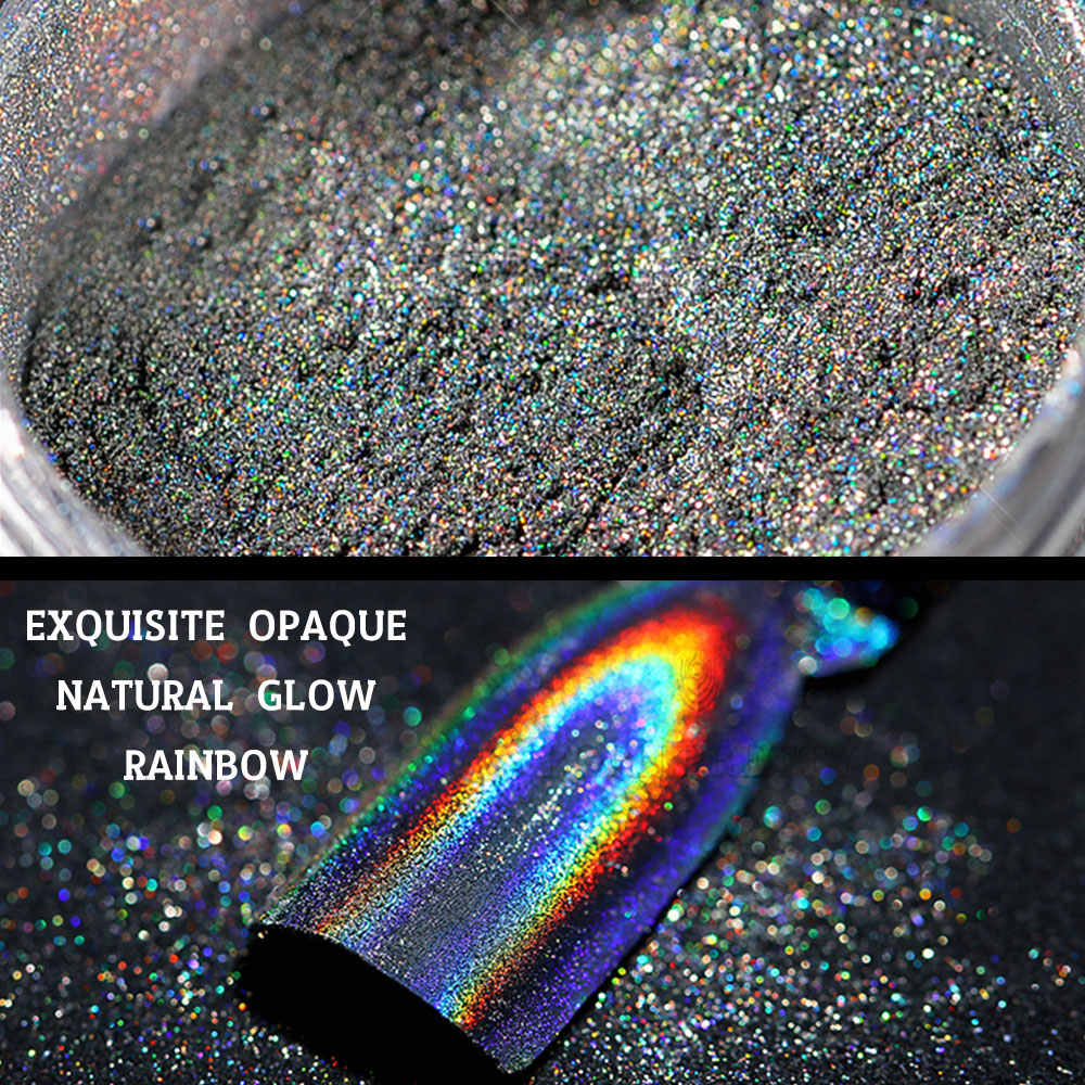 Music Flower Laser Nail Glitter Peacock Holographic Mirror Powder Laser Dust Nail Art Chrome Pigment Powder DIY Decorations
