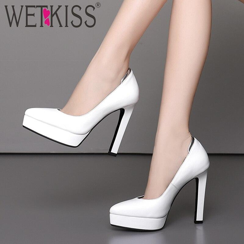 Baja Wetkiss 2019 blanco Mujeres Zapatos Oficina De Cuero Bombas Los Las Primavera Mujer Nuevo Plataforma Tacones Altos Calzado Negro Punta PxraHPqR