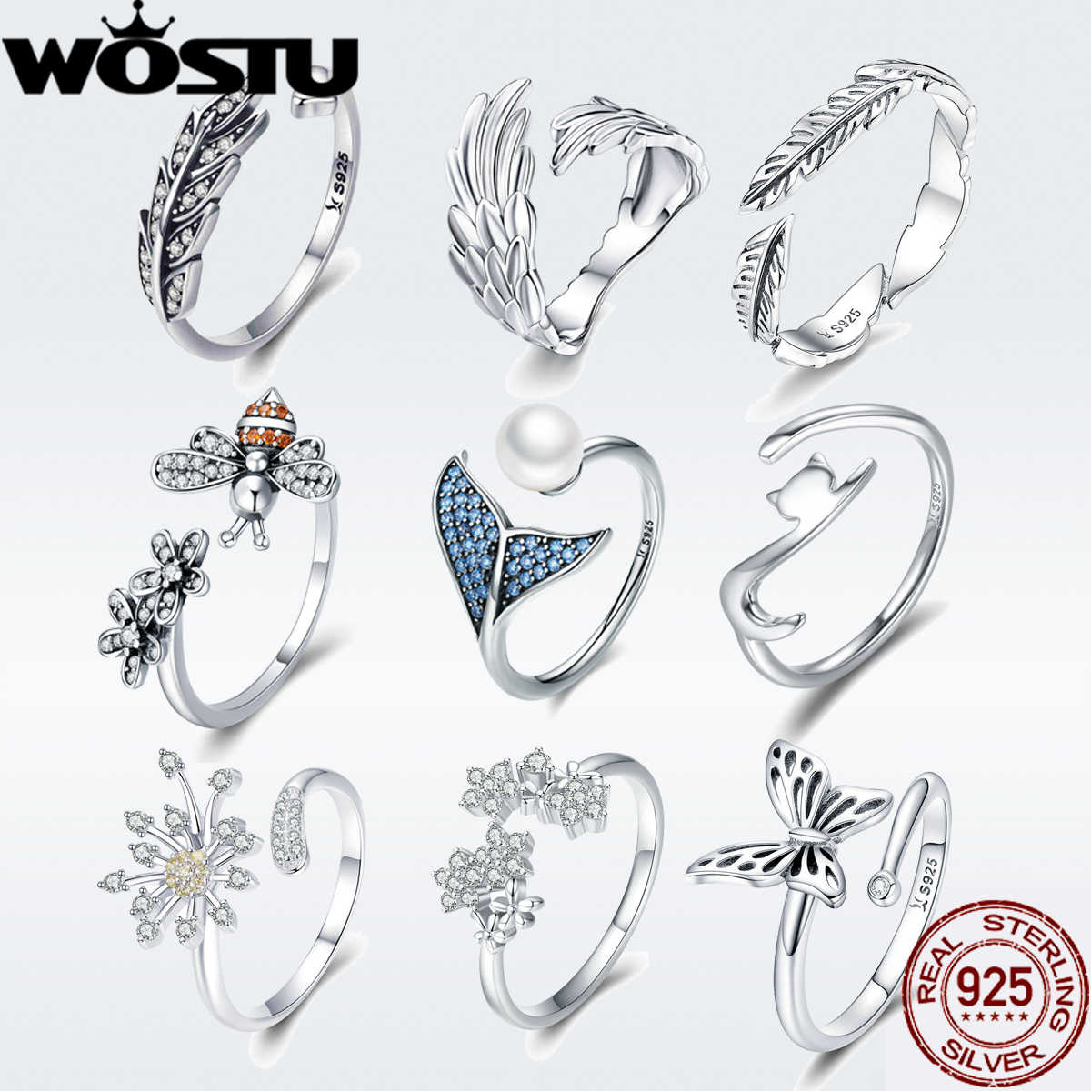 WOSTU NEW 925 Sterling Silver Vintage Style Leaves Clear CZ Adjustable Rings for Women Fashion S925 Silver Jewelry Gift DXR313