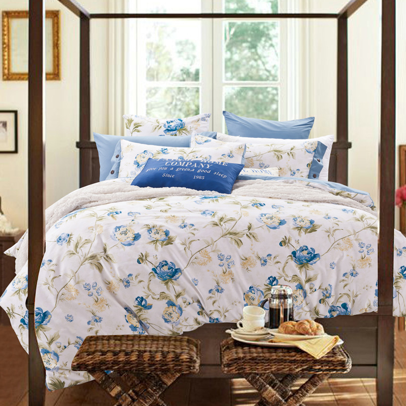 2016 Country Style Cotton Bed Linen King Queen Size Doona Duvet Cover Bed Sheet Pillow