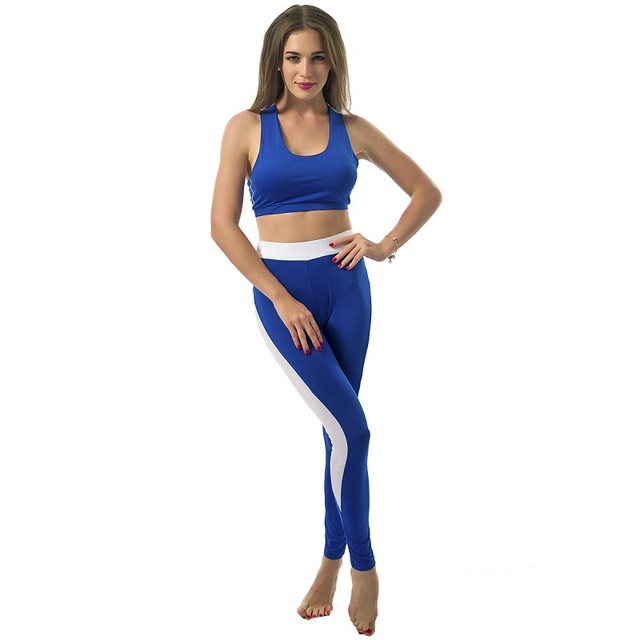 GERTU Women Playsuit Patchwork Skinny Bra Crop Top And Leggings 4 Color Style Capris Set  Women Fitness