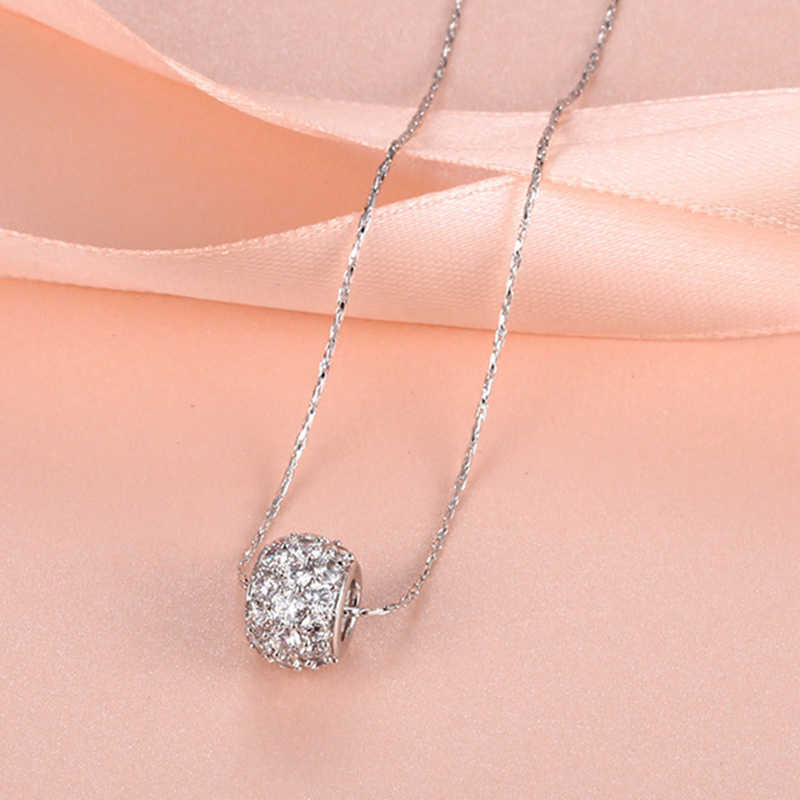 925 Sterling Silver Necklaces for Women AAA Clear Zirconia Beads Pendant Necklace Collier Choker White Gold GP Bridal Jewelry