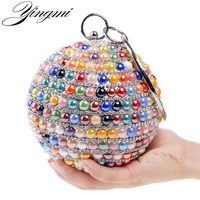 YINGMI Ceramics Fashion Women Evening Bags With Handle Day Clutches Bag Red Blue Gold Colorful Candy Color Diamonds Wedding Bag
