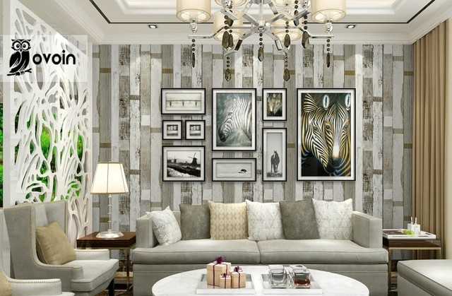 Designer Rustic Embossed Wood Panel Wallpaper Vintage Stripe Feature Wall Paper Roll Bedroom Living Room Home Decor