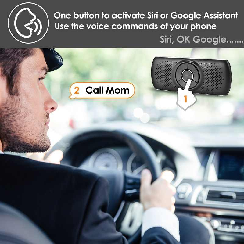 ANLUD ハンズフリーの Bluetooth カーキットワイヤレス Bluetooth スピーカー電話 EDR MP3 音楽プレーヤー太陽バイザークリップスピーカーフォン
