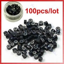 100pcs/lot Silicone Micro Ring Feather Hair Extensions