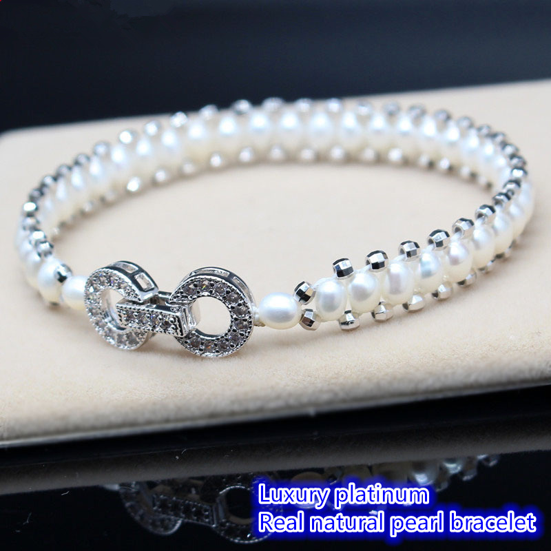 Luxury sterling silver Inlaid zircon Sterling silver real Natural pearl Preparation of bracelet bracelets for women bj