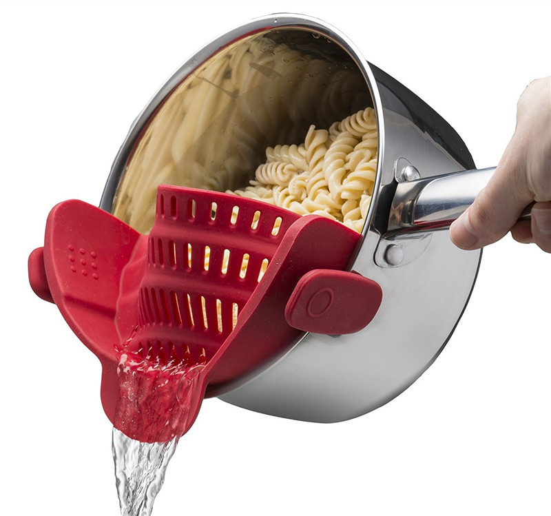 Uroomee Silicone Pot Pan Bowl Funnel Strainer Kitchen Rice Washing Colander Kitchen Accessories for draining liquid