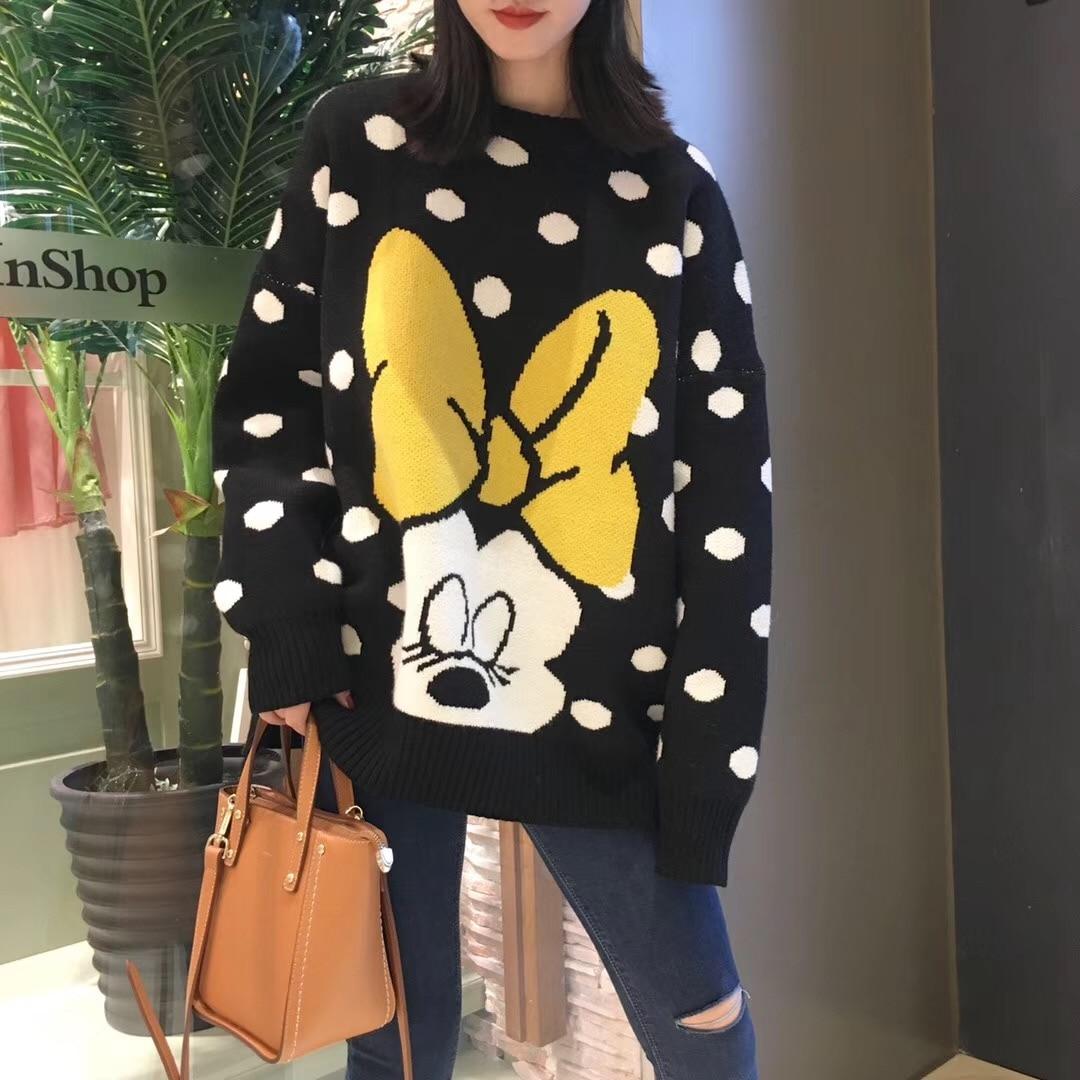 7Mang 2019 Cute Cartoon Polka Dot Mickey Sweater Women Long Sleeve Black Sweater Korean Loose Harajuku Kwaii Knit Pullovers 0116