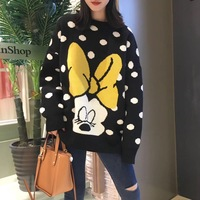 7Mang 2019 Cute Cartoon Polka Dot Mickey Sweater Women Long Sleeve Black Sweater Korean Loose Harajuku Kwaii Knit Pullovers 0116