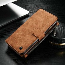 Luxury Genuine Leather Phone Cases For iphone 5/6/6s/6plus/6splus With Zipper Wallet Card Multifunction Phone Back Covers KS0052