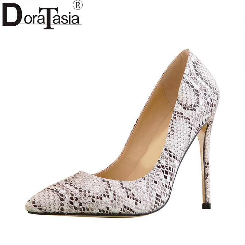 DoraTasia Sexy Women's Printed Snakeskin Pointed Toe High Heel Shoes Woman Party Wedding Brand Pumps Big Size 33-43 doratasia embroidery big size 33 43 pointed toe women shoes woman sexy thin high heels brand pumps party nightclub