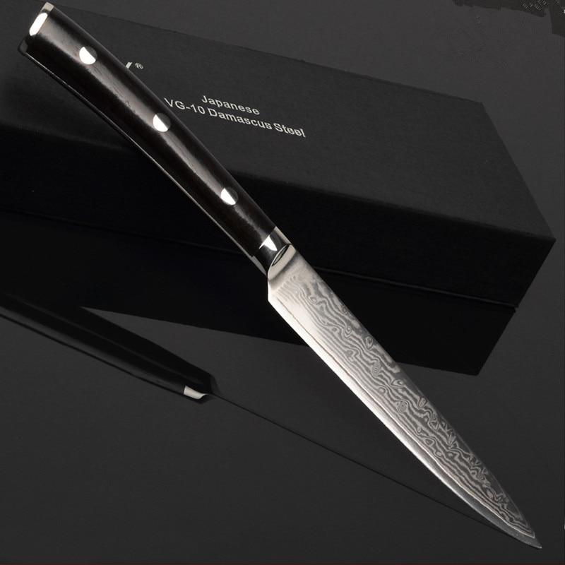 5 inç Shërbimi Paring Peeling Thikë Kuzhina Japoneze VG10 Damask Steel Vendosja e Mishit të Frutave Vegla gatimi perimesh 24