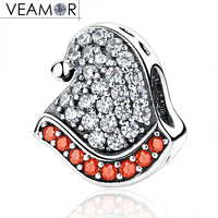 VEAMOR Real 925 Sterling Silver Red Clear CZ Christmas Hat Charms Beads Fit Pandora Bracelets DIY
