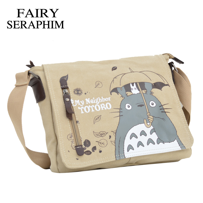 Image 2 - FAIRY SERAPHIM My Neighbor Totoro Messenger Canvas Bag Printing Shoulder Bag Teenagers Anime Cartoon Totoro Messenger Bagtotoro messenger bagshoulder bagscanvas bag -