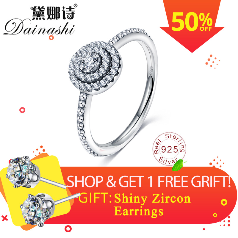 Dainashi Exquisite 925 Silver Rings With Shining AAA Zirconia Party Wedding Elegant Jewelry Rings For Women Fashion Gift 2019