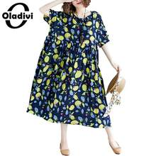 bd35d59876adce Oladivi Surdimensionné grande taille Femmes robe bohème Dames de Toile De  Coton De Mode D'impression robes mi-longues décontract.