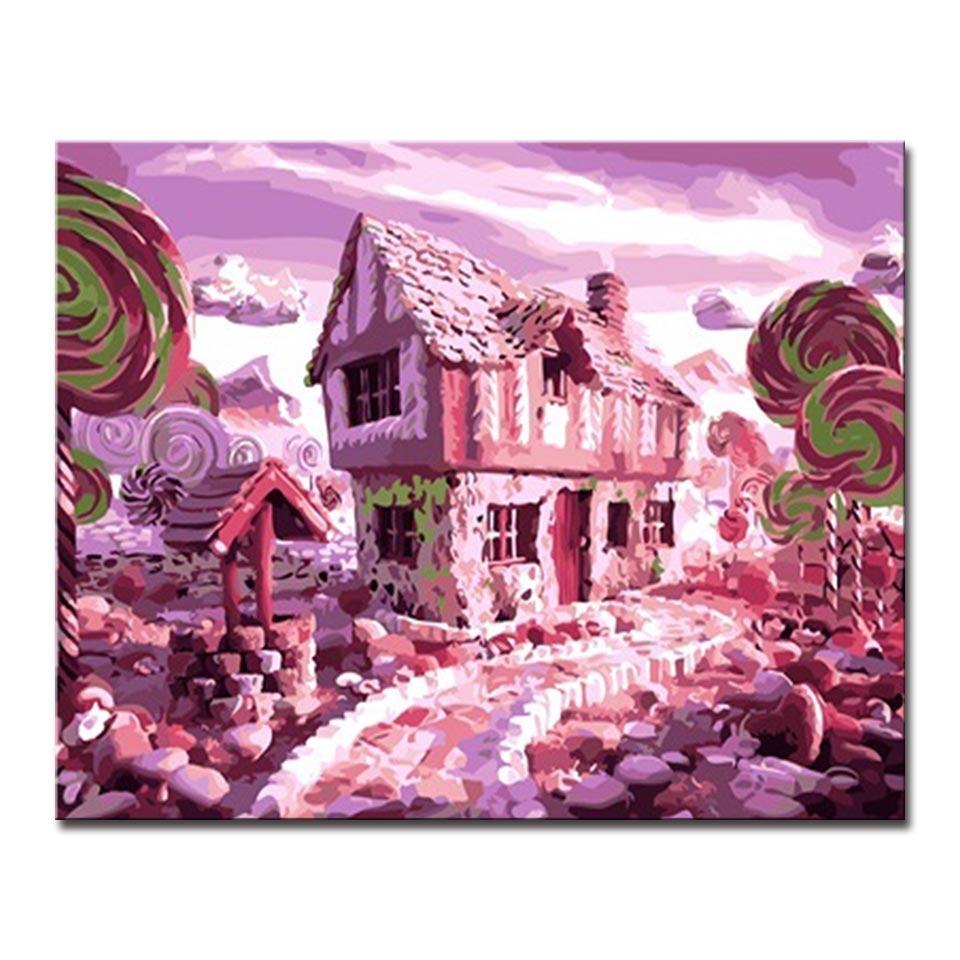 Diy Lukisan Dengan Angka Menggambar Pink Kastil Yang Indah