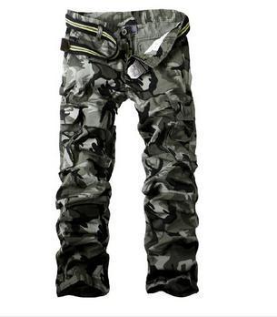Мужские армейские многофункциональные повседневные свободные длинные брюки-карго, рабочие камуфляжные брюки, размер 28-38 - Цвет: Gary Camouflage