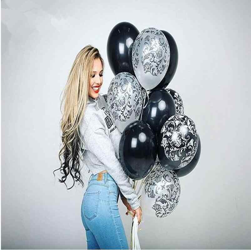 """40 шт./лот дамасский принт черный и белый 12 """"Qualatex латексные воздушные шары на день рождения вечерние украшения латексные шары юбилей"""