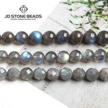 Бусины из натурального серого лунного камня, лабрадорит, класс 7A 6A 5A 4A 3A 2A, полуфабрикаты для изготовления ювелирных изделий