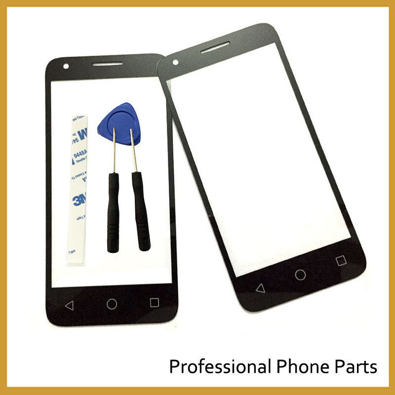 Original New Front Glass For Alcatel One Touch Pixi 3 <font><b>4027D</b></font> 4027X 4027A OT4027 Outer Lens Screen Replacement, Black image