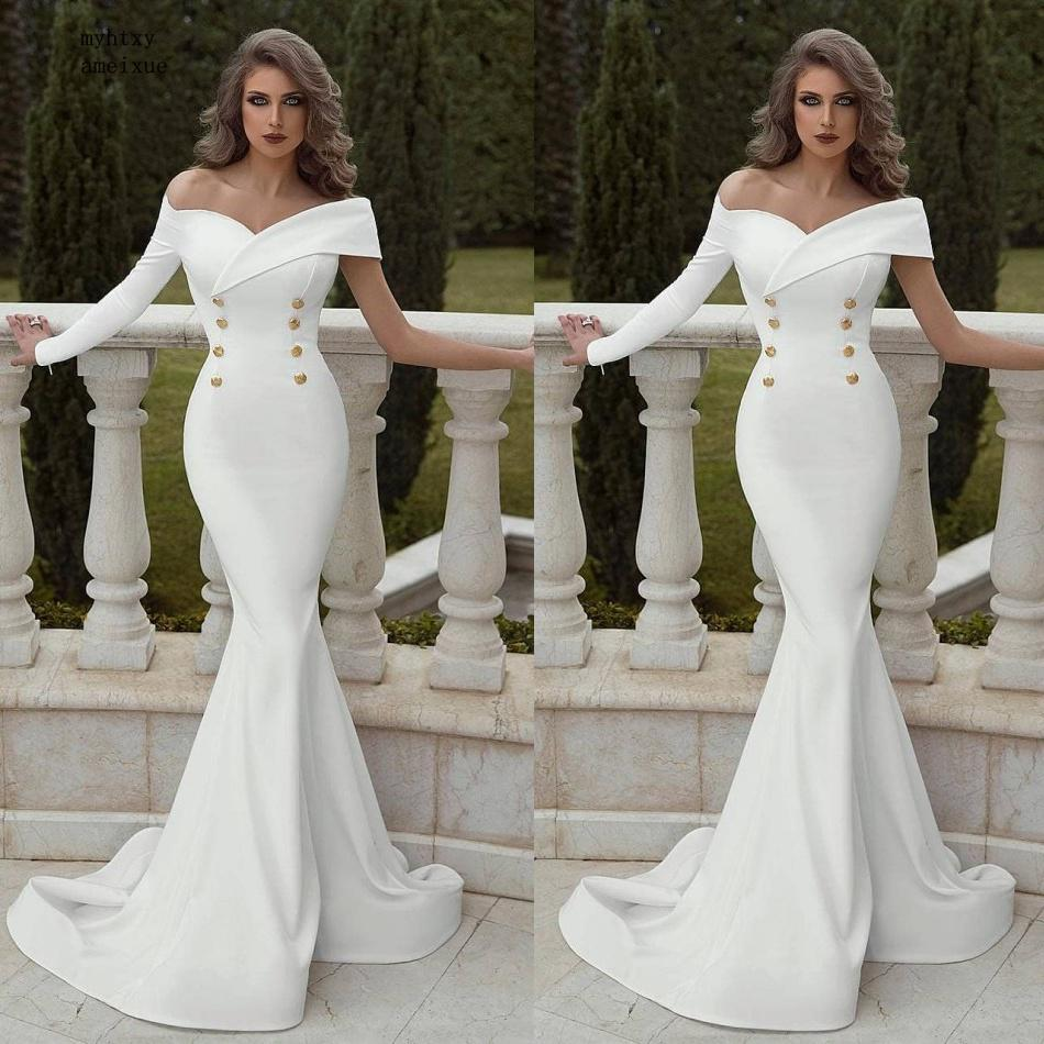 Cheap Sexy Mermaid Wedding Dress 2019 Off The Shoulder Ruffles Sweep Train Vestido De Novia Buttons Robe De Soiree Bridal Gowns
