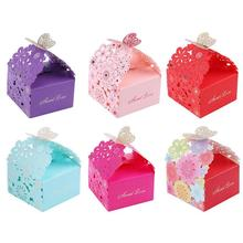 10pcs/set Hollow Laser Flower Gift Candy Box Butterfly Wedding Gift Wrapping Packing Box Baby Shower Wedding Party Supplies