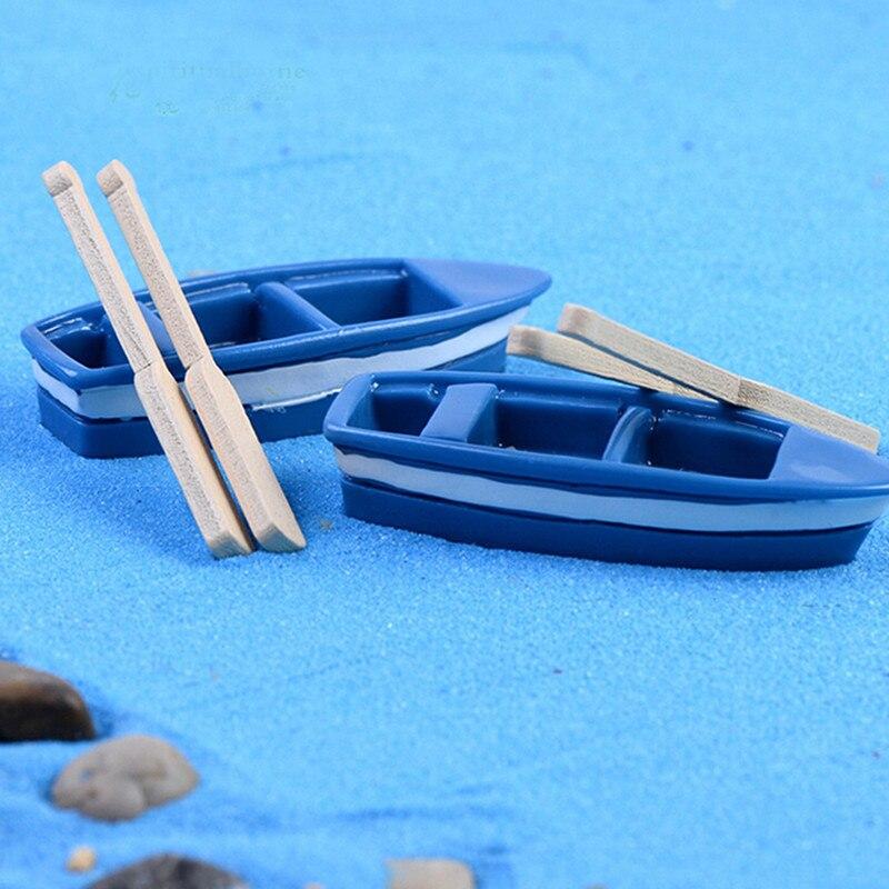 Lovely Cute 1Pcs Boat Wooden 2pcs Oar Paddle Fairy Garden