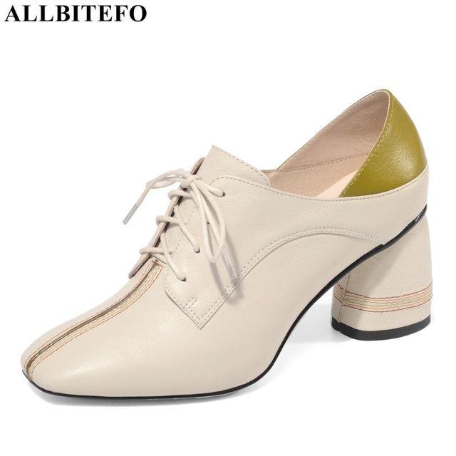 ALLBITEFO ขนาดใหญ่ขนาด: 34 42 ของแท้หนังสแควร์ toe รองเท้าส้นสูงรองเท้าผู้หญิงรองเท้าส้นสูงรองเท้าผู้หญิงฤดูใบไม้ผลิรองเท้าส้นสูง