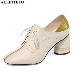 Image 1 - ALLBITEFO גדול גודל: 34 42 עור אמיתי בוהן מרובע עקבים גבוהים מסיבת נשים נעלי נשים גבוהה העקב נעלי אביב נשים עקבים