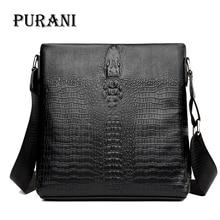 PURANI Black Messenger Bag Men Leather Handbags Crossbody Bags for Men Small Shoulder Bag Man Sling Crocodile Bags Mens Satchels все цены