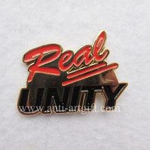 Personalizado carta logotipo esmalte macio broche pin banhado a ouro