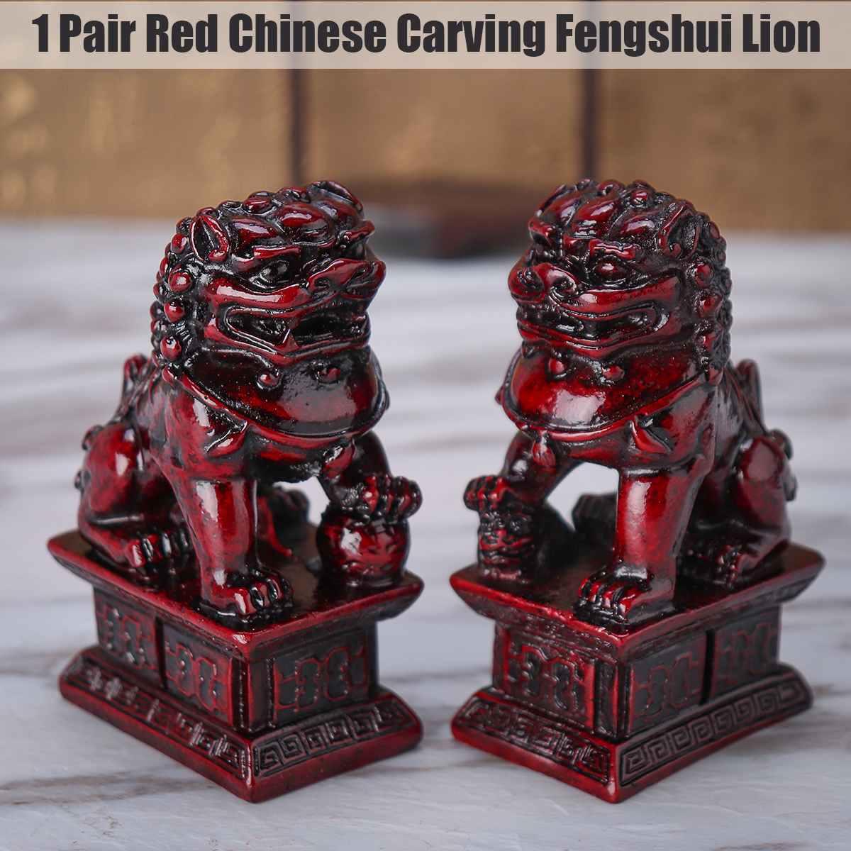 Curio China Bronze Feng Shui Foo Fu Dog Guardion Lion Lovable Animal Statue Pair