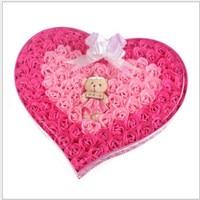 92 TEILE/SCHACHTEL Schönheit Seife Handgemachte Rosafarbene Seifenblume Liebevolles Herz Whitening Hochzeit Valentinstag Weihnachtsgeschenk Bad Zubehör